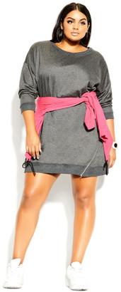City Chic Side Zip Dress - grey