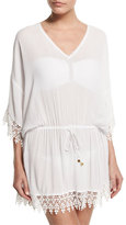 Tory Burch Treville Embroidered-Trim Caftan Coverup