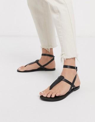 ASOS DESIGN Fennel leather toe post sandal in black