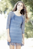 Nightcap Clothing Fringe Lace Raglan Dress in Denim Blue