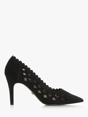 Dune Wide Fit Aloraa Suede Cut Out High Heel Court Shoes, Black