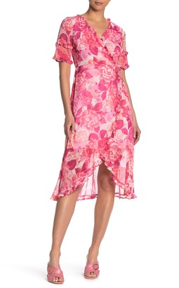 Kensie Floral Ruffled High/Low Midi Dress