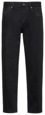 Cropped tapered-fit jeans in rinse-washed black denim