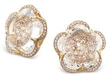 Pasquale Bruni 18K Rose Gold Bon Ton Rock Crystal and White & Champagne Diamond Flower Stud Earrings