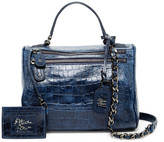 Alice + Olivia Alana Croc Embossed Leather Satchel