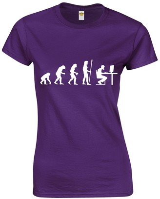 Crown Designs The Evolution of a Pc Gamer Cool Video Game Fan Gift for Women & Teenagers Fitted T-Shirts Tops - Purple/XXL - 14/16