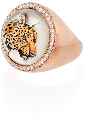 Jacquie Aiche 14kt Gold Leopard Diamond-Embellished Ring