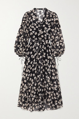 Loewe Belted Printed Silk-blend Voile Maxi Dress - Black