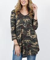 Lydiane Women's Tee Shirts Camo - Camouflage V-Neck Three Quarter-Sleeve Curved-Hem Top - Women