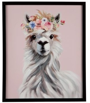 Signature Design by Ashley Josie Floral Llama Youth Framed Wall Art