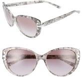 Tory Burch Women's 56Mm Cat Eye Sunglasses - Silver Tweed