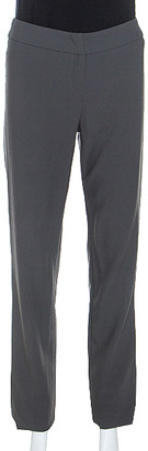 Armani Collezioni Grey Wool High Waist Tailored Trousers S