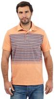 Mantaray Big And Tall Orange Striped Print Polo Shirt