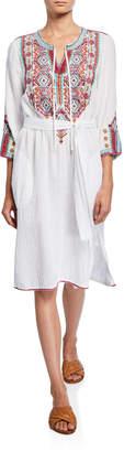Johnny Was Kaya Embroidered 3/4-Sleeve Gauze Weekend Dress