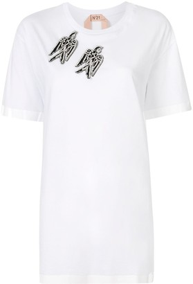 No.21 crew neck embellished-patches T-shirt