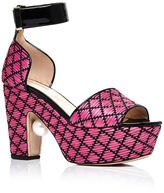 Nicholas Kirkwood Pink Raffia and Pearl Maya Platform Heels