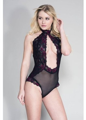 Music Legs High neck open front keyhole teddy with flower details and sheer back 80053-BLACK/HOTPINK
