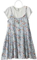 Knitworks Girls 7-16 Ribbed Crop Top & Floral Slip Dress Set with Necklace