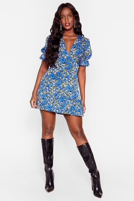 Nasty Gal Womens Growing 'Round in Circles Plus Floral Mini Dress - Blue
