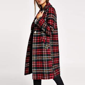 River Island Womens Petite Red check longline coat