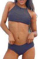 Sundray Ladies Soft Halter Cropped Tankini Tops 2PCS Bikini Sets Swimwear M