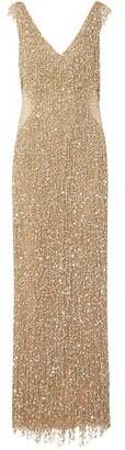 Naeem Khan Fringed Crystal-embellished Sequined Tulle Gown