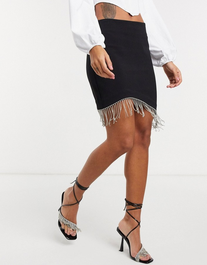 Thumbnail for your product : And other stories & diamante detail mini skirt with in black