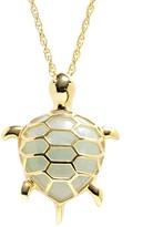 18k Gold Over Silver Jade Turtle Pendant