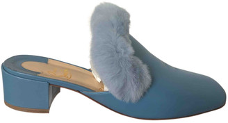 Christian Louboutin Turquoise Leather Mules & Clogs