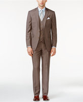 Kenneth Cole Reaction Tan Check Vested Slim-Fit Suit