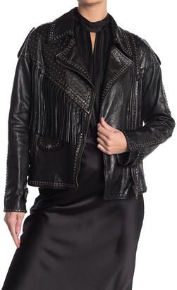 Valentino Studded Fringe Leather Moto Jacket