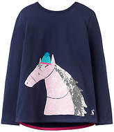 Joules Little Joule Girls' Applique Heart Top, French Navy