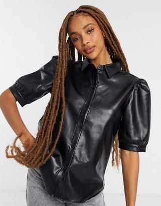 BB Dakota vegan leather puff sleeve shirt in black