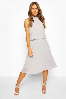 boohoo Occasion Pleated Double Layer Midi Dress