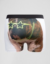Asos Trunks With Groovy Bulldog Print In Microfibre