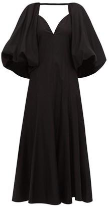 KHAITE Joanne Balloon-sleeve Cotton Maxi Dress - Womens - Black