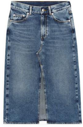 Arket Front-Split Denim Skirt