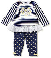 Little Me Baby Girls 12-24 Months Striped Top and Daisy-Printed Legging Set