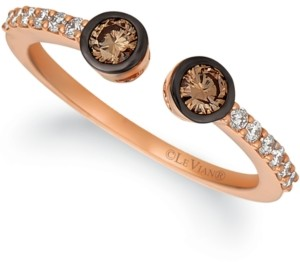 LeVian Le Vian Chocolatier Chocolate Diamond (1/4 ct. t.w.) and Vanilla Diamond (1/6 ct. t.w.) Cuff Ring in 14k Rose Gold