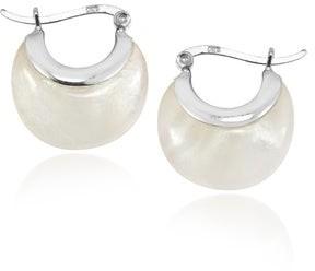 Aeravida Handmade Crescent Moon Hoop Sterling Silver V-lock Earrings