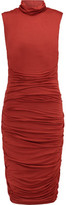 Bailey 44 Ruched Stretch-Jersey Turtleneck Dress