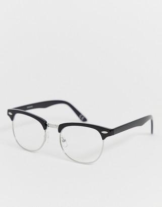 clear Asos Design ASOS DESIGN retro fashion glasses in black plastic with lenses