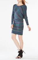 BCBGMAXAZRIA Laheld Draped Striped Jersey Dress