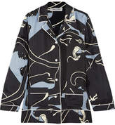 Valentino Panther Printed Silk-twill Shirt - Gray