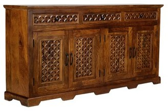"""Bungalow Rose Chevell 70"""" 3 Drawer Acacia Wood Sideboard Color: Mango"""