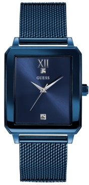 GUESS Men's Diamond-Accent Blue Stainless Steel Mesh Bracelet Watch 40x35mm