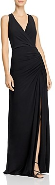 Adrianna Papell Embellished Faux-Wrap Mermaid Gown