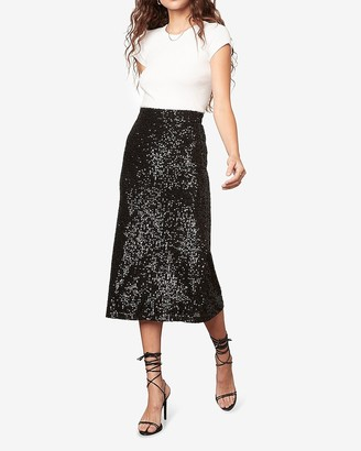 Express Bb Dakota Black Sequin Midi Skirt
