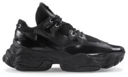 HUGO BOSS Chunky Sneakers In Brush Off Leather And Mesh - Black