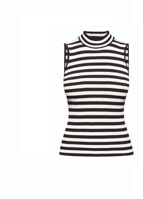 Henley Black Striped Sleeveless Top